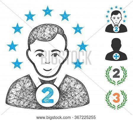 Mesh 2nd Prizer Sportsman Web Icon Vector Illustration. Model Is Based On 2nd Prizer Sportsman Flat