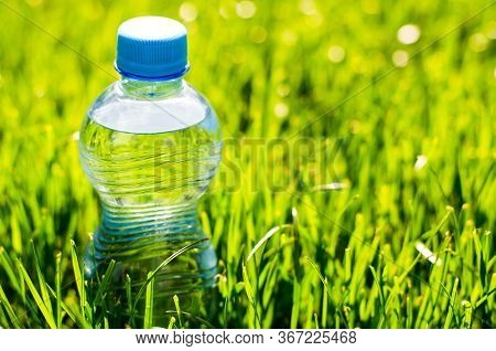 Water Bottle In The Grass. Transparent Plastic Water Bottle In The Grass With Sunbeams. The Rays Of