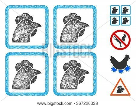 Mesh Chicken Factory Web Icon Vector Illustration. Carcass Model Is Based On Chicken Factory Flat Ic