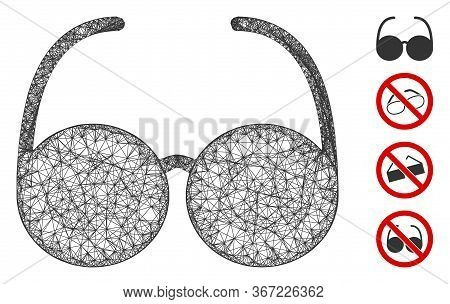 Mesh Spectacles Web 2d Vector Illustration. Carcass Model Is Based On Spectacles Flat Icon. Mesh For