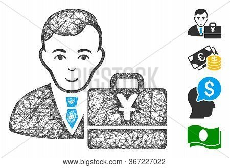 Mesh Yuan Accounter Web Icon Vector Illustration. Carcass Model Is Created From Yuan Accounter Flat