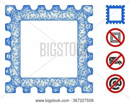 Mesh Postage Stamp Web Icon Vector Illustration. Model Is Based On Postage Stamp Flat Icon. Network