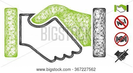Mesh Acquisition Handshake Web Icon Vector Illustration. Carcass Model Is Created From Acquisition H