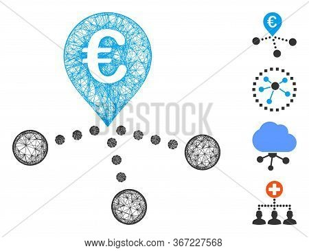 Mesh Euro Bank Branches Web 2d Vector Illustration. Model Is Based On Euro Bank Branches Flat Icon.