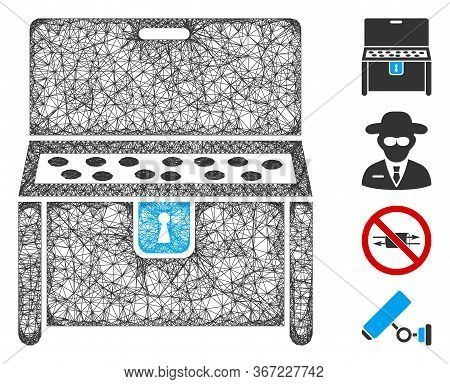 Mesh Locked Desk Web 2d Vector Illustration. Carcass Model Is Based On Locked Desk Flat Icon. Mesh F