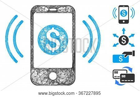 Mesh Payment Phone Ring Web Icon Vector Illustration. Model Is Created From Payment Phone Ring Flat