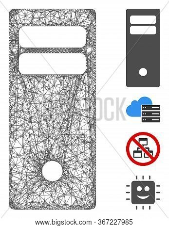 Mesh Computer Mainframe Web Icon Vector Illustration. Model Is Created From Computer Mainframe Flat
