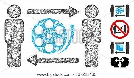 Mesh Men Video Exchange Web 2d Vector Illustration. Carcass Model Is Based On Men Video Exchange Fla