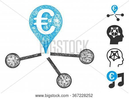 Mesh Euro Bank Branches Web Symbol Vector Illustration. Carcass Model Is Based On Euro Bank Branches
