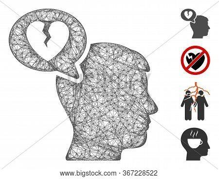 Mesh Divorce Thinking Man Web Icon Vector Illustration. Carcass Model Is Based On Divorce Thinking M