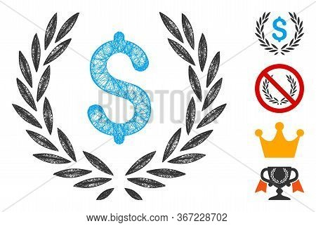 Mesh Financial Laurel Wreath Web Symbol Vector Illustration. Carcass Model Is Based On Financial Lau