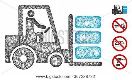 Mesh Forklift Web 2d Vector Illustration. Model Is Based On Forklift Flat Icon. Network Forms Abstra
