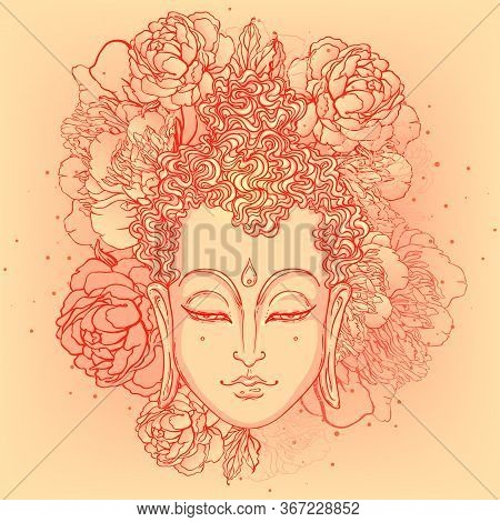 Buddha Face With Peonies On Background. Vector Illustration. Psychedelic Neon Composition. Indian, B