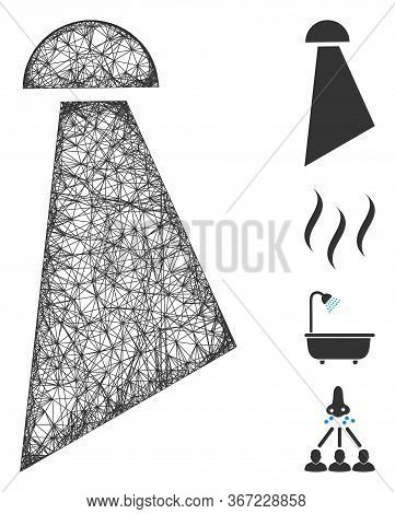Mesh Spray Web Icon Vector Illustration. Model Is Based On Spray Flat Icon. Mesh Forms Abstract Spra