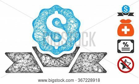Mesh Dollar Award Web Symbol Vector Illustration. Carcass Model Is Based On Dollar Award Flat Icon.