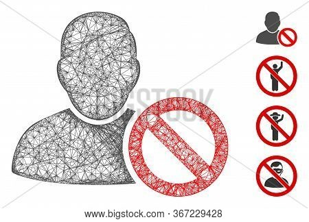 Mesh Forbidden User Web 2d Vector Illustration. Carcass Model Is Based On Forbidden User Flat Icon.