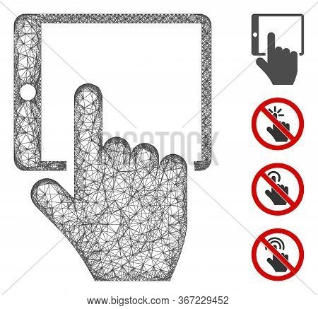 Mesh Tablet Point Web Icon Vector Illustration. Carcass Model Is Based On Tablet Point Flat Icon. Ne