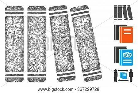 Mesh Anamnesis Books Web Icon Vector Illustration. Carcass Model Is Based On Anamnesis Books Flat Ic