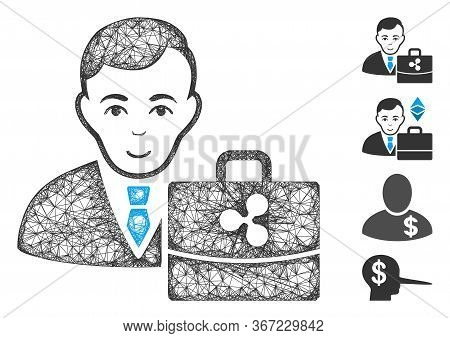 Mesh Ripple Accounter Web Icon Vector Illustration. Model Is Based On Ripple Accounter Flat Icon. Me