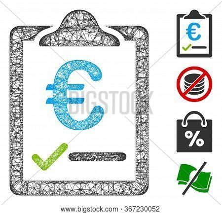 Mesh Euro Price Quote Web Icon Vector Illustration. Model Is Based On Euro Price Quote Flat Icon. Ne