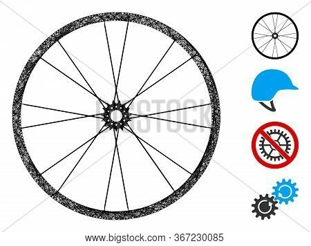 Mesh Bike Wheel Web Symbol Vector Illustration. Model Is Based On Bike Wheel Flat Icon. Mesh Forms A
