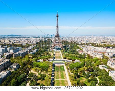 Eiffel Tower Or Tour Eiffel Aerial View, Is A Wrought Iron Lattice Tower On The Champ De Mars In Par