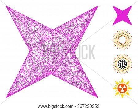 Mesh Sparkle Star Web Icon Vector Illustration. Model Is Created From Sparkle Star Flat Icon. Mesh F