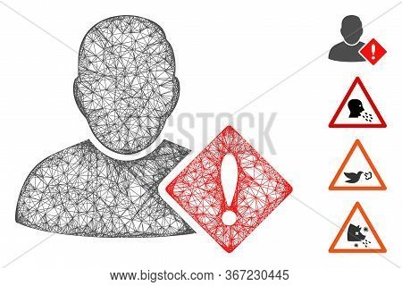 Mesh User Problem Web Icon Vector Illustration. Model Is Based On User Problem Flat Icon. Mesh Forms