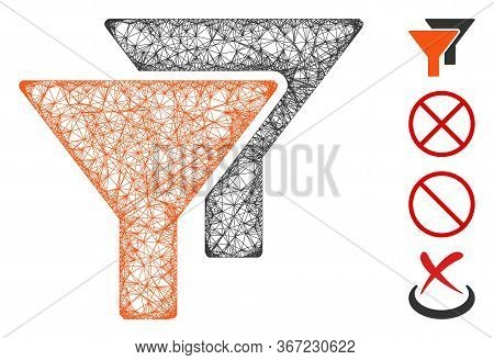 Mesh Filters Web Symbol Vector Illustration. Carcass Model Is Based On Filters Flat Icon. Mesh Forms