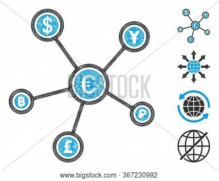 Mesh Euro Financial Network Web 2d Vector Illustration. Carcass Model Is Based On Euro Financial Net