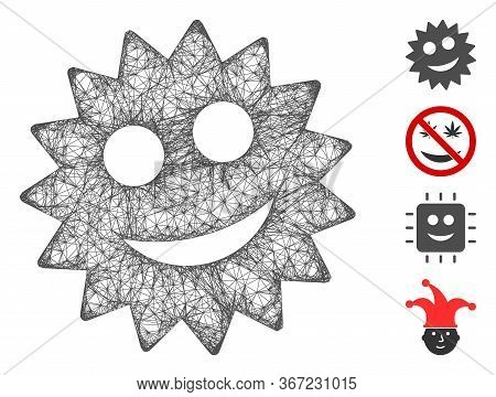 Mesh Smile Token Web Icon Vector Illustration. Carcass Model Is Based On Smile Token Flat Icon. Netw