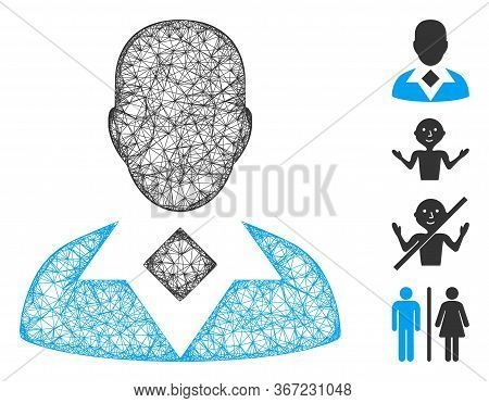 Mesh Guy Web Icon Vector Illustration. Model Is Based On Guy Flat Icon. Network Forms Abstract Guy F