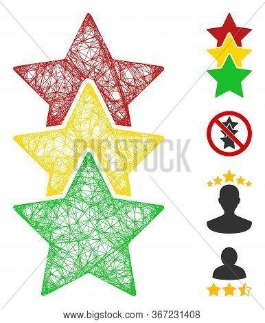 Mesh Rating Stars Web Icon Vector Illustration. Carcass Model Is Based On Rating Stars Flat Icon. Ne