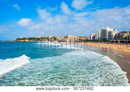 La Grande Plage Is A Public Beach In Biarritz City On The Bay Of Biscay On The Atlantic Coast In Fra
