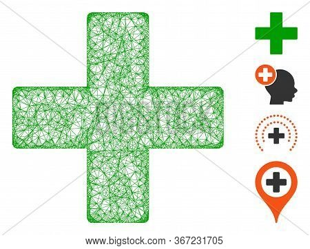 Mesh Plus Web 2d Vector Illustration. Abstraction Is Based On Plus Flat Icon. Mesh Forms Abstract Pl