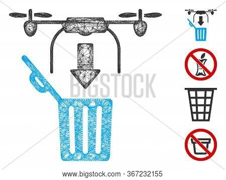 Mesh Drone Drop Trash Web Icon Vector Illustration. Carcass Model Is Based On Drone Drop Trash Flat