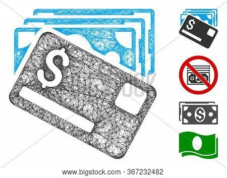 Mesh Banknotes And Card Web Symbol Vector Illustration. Abstraction Is Based On Banknotes And Card F