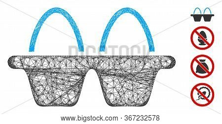 Mesh Egg Pack Web Icon Vector Illustration. Model Is Based On Egg Pack Flat Icon. Network Forms Abst