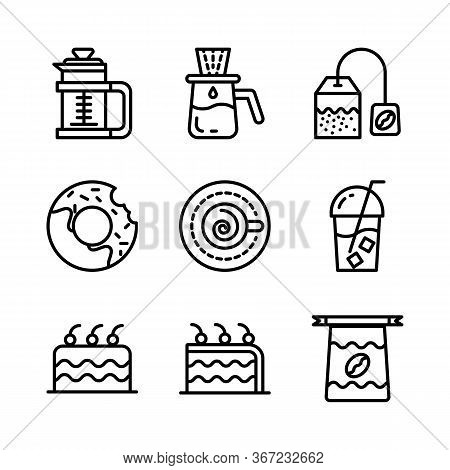Basic Vector Coffee Icon Include Bag Coffee,donuts,cappuccino,cake