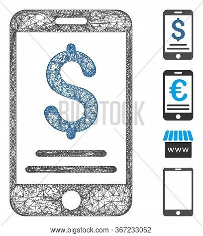 Mesh Dollar Mobile Payment Web Icon Vector Illustration. Abstraction Is Based On Dollar Mobile Payme