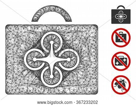 Mesh Drone Case Web Icon Vector Illustration. Carcass Model Is Based On Drone Case Flat Icon. Mesh F