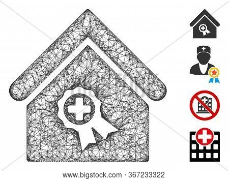 Mesh Certified Clinic Building Web 2d Vector Illustration. Abstraction Is Based On Certified Clinic