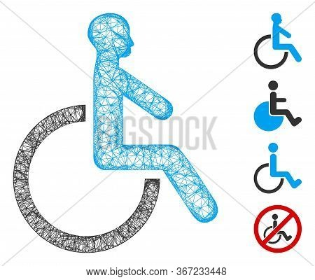 Mesh Wheelchair Web 2d Vector Illustration. Carcass Model Is Based On Wheelchair Flat Icon. Mesh For