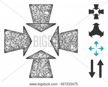 Mesh Shrink Arrows Web Symbol Vector Illustration. Carcass Model Is Based On Shrink Arrows Flat Icon