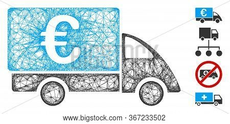 Mesh Euro Collector Car Web Icon Vector Illustration. Model Is Based On Euro Collector Car Flat Icon