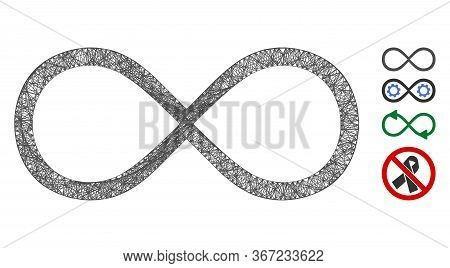 Mesh Infinity Web Icon Vector Illustration. Model Is Created From Infinity Flat Icon. Network Forms