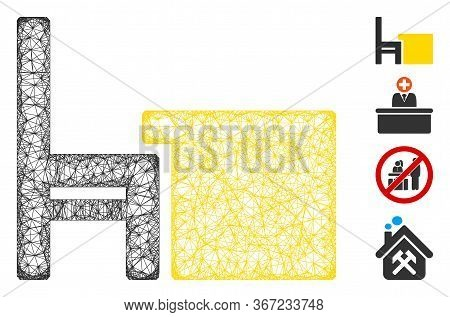 Mesh Desk Web Icon Vector Illustration. Model Is Based On Desk Flat Icon. Mesh Forms Abstract Desk F