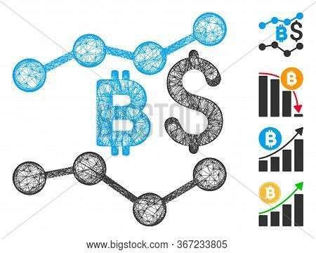 Mesh Bitcoin And Dollar Trends Web 2d Vector Illustration. Carcass Model Is Based On Bitcoin And Dol