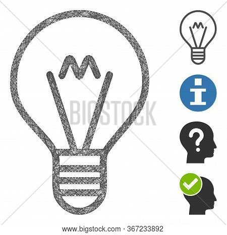 Mesh Hint Lamp Web 2d Vector Illustration. Carcass Model Is Based On Hint Lamp Flat Icon. Network Fo