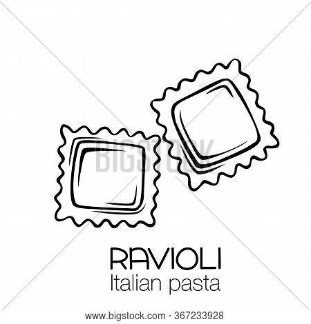 Ravioli Pasta Outline Icon. Italian Cuisine Drawn Badge. Retro Style Vector Illustration.